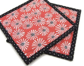 Modern Hot Pads, Quilted Pot Holders - White Flowers on Coral Orange Cotton Fabric Potholders - Hostess Gift, Housewarming Gift