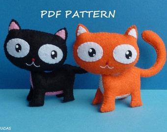 PDF sewing pattern to make a felt little cat.