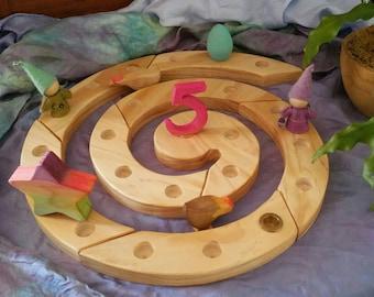 Waldorf Wooden Advent or Birthday Spiral. Steiner inspired, waldorf toys, wooden