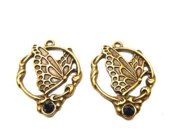 Charm butterfly, tooled, black Rhinestones, 33x25mm, 1 pair
