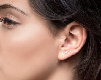 Tiny Stud Earrings, Small Earrings, Tiny Earring, Small Silver Earrings, Small Gold Earrings, Bird Post Earring, Silver / Gold Earrings Set