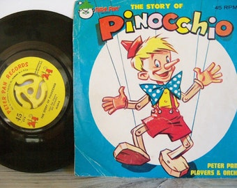Pinocchio - Pinocchio Record - Peter Pan Records - Vintage Children Record - Pinocchio Puppet - Fairy Tale Record - 45 RPM - No 654 - 1960s