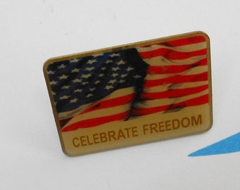 Patriotic scatter pin Celebrate Freedom flag push pin, 1976 Free USA Shipping