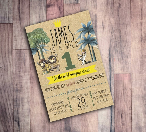 Where the Wild Things are Birthday Invitation First Birthday