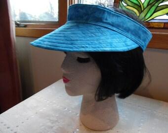 Aqua Sun Visor Hat / Garden Hat / Sports Hat / Golf Hat / Travel Hat / Batik Hat / Visor Hat / Sun Hat / Cotton Hat