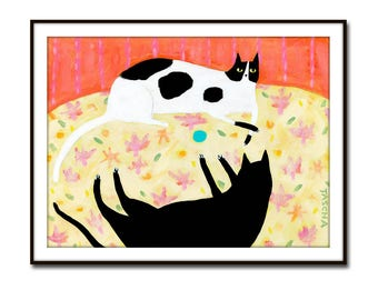 PRINT Two cats fight over toy CUTE black cat and spotted cat on a rug sweet poster print of cat painting by Tascha