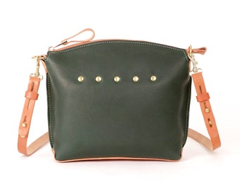 FOREST GREEN Leather Cross Body Bag