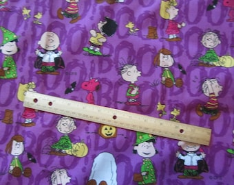 Purple Peanuts Gang Halloween Cotton Fabric by the Half Yard