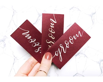 Burgundy name cards, wedding stationery, place cards, table decor