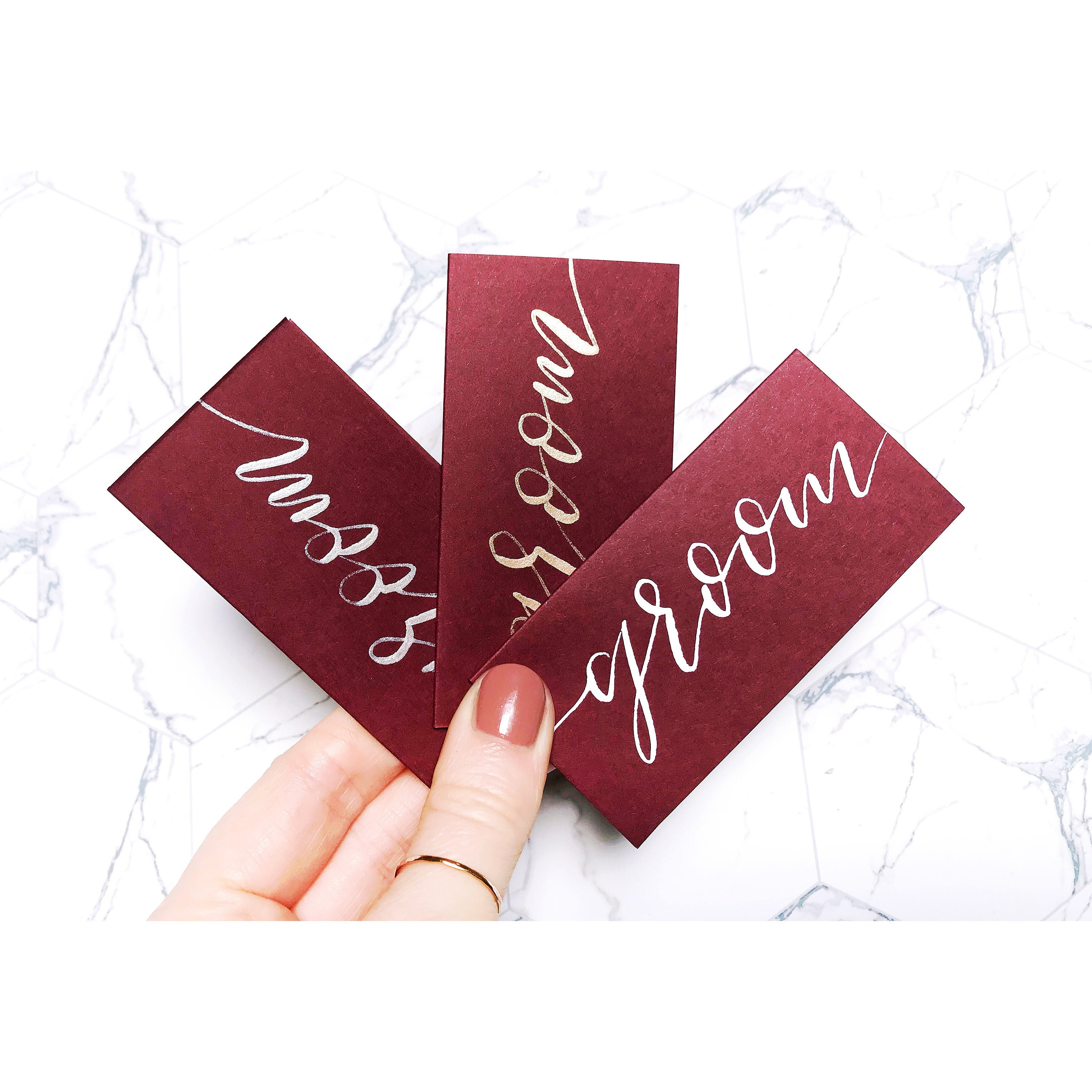 Burgundy name cards wedding stationery place cards table