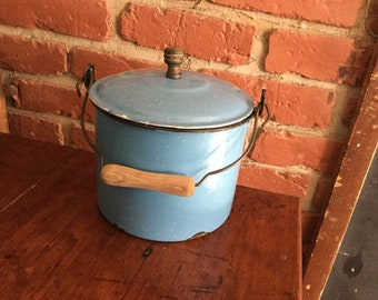 Vintage, Antique Blue Metal Enamel Berry Bucket,Lunch Pail