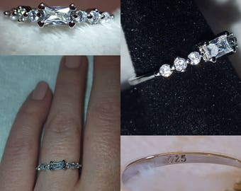 White Topaz Sterling Silver Band