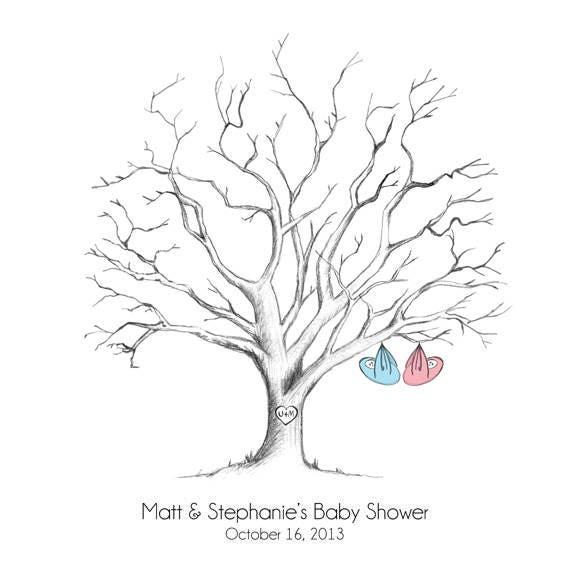 Printable Hand-Drawn Baby Shower Fingerprint Tree Guestbook