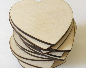 50 1.5 inch wood hearts - unfinished wooden hearts for wedding and parties