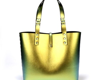 Scarab Iridescent Tote Bag | Gold to Green Tote | Vegan Tote Bag | Made in USA