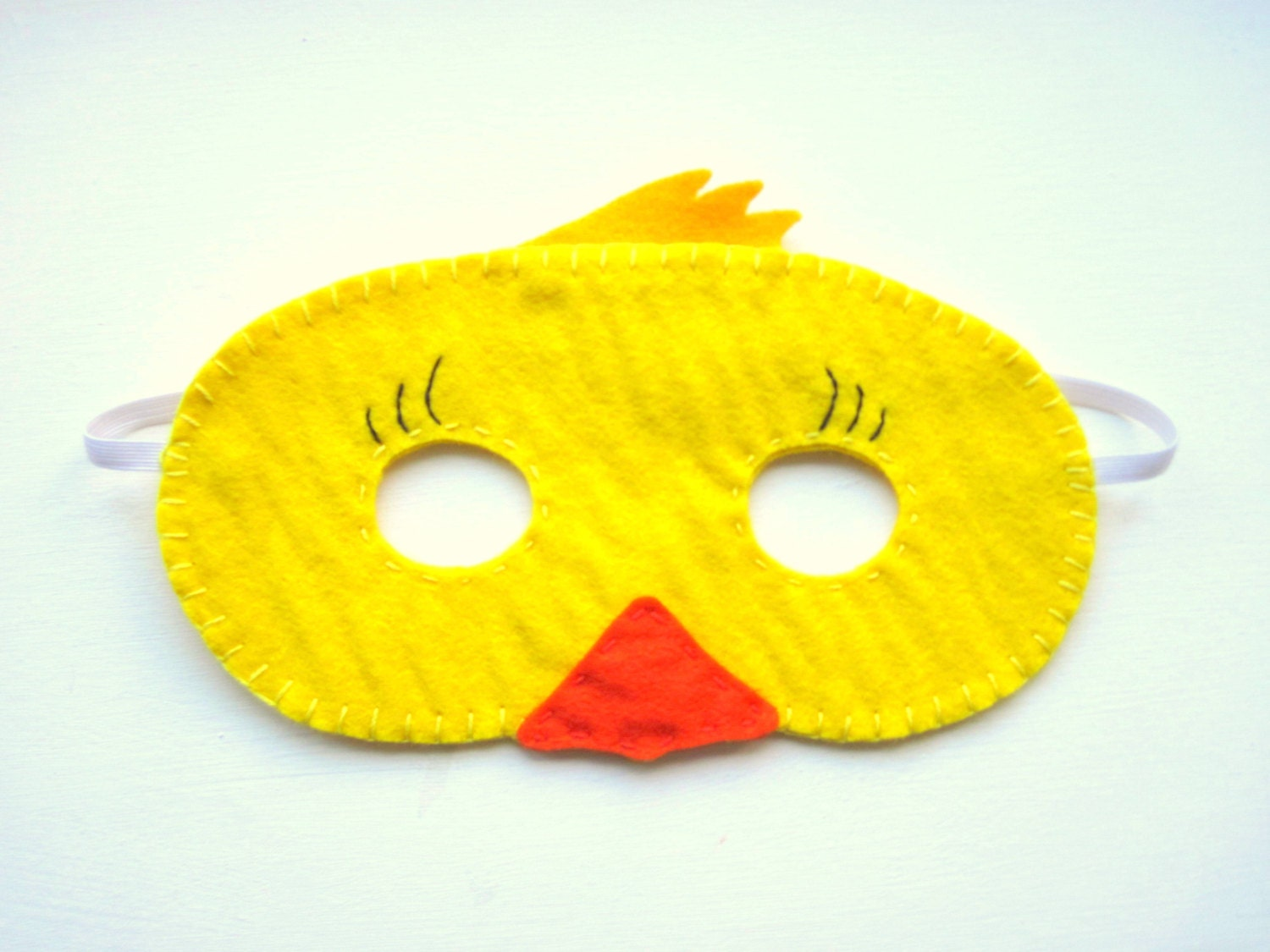 ?zoom & PDF PATTERN: Duck mask sewing tutorial Yellow Easter felt