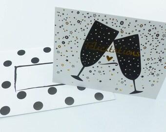 Gold bubble champagne congratulation card
