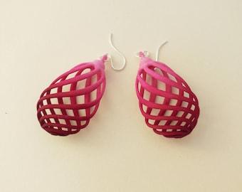 Flasket  -  Crimson Ombre  3D Printed Earrings | 3D Printed Jewelry | 3D Printed Earrings