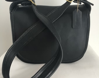 Vintage Coach Classic Pouch Shoulder Bag in Black Leather, Style 9170, Made in United States