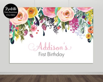 Printable Backdrop, Floral Printable Backdrop, Floral Backdrop, Birthday Backdrop, Dessert Table, Bridal Shower, Baby Shower, YOU PRINT