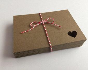 50 Rectangle Kraft Tags W/Heart, Wedding, Kraft, Scrapbooking, Card Making