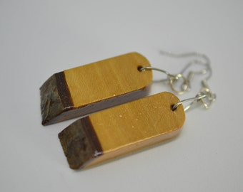 Holly Earrings - reclaimed wood