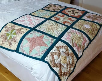 Hand-sewn Patchwork Lap or Cot Quilt - Mellow Stars