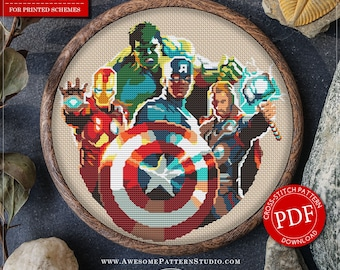 The Avengers Cross Stitch Pattern for instant download *P062 |Easy Cross Stitch| Counted Cross Stitch| Modern Cross Stitch|Embroidery Design
