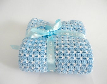 Crochet blanket for newborn boy, nursery bedding, grannies crocheted afghan, handmade crochet throw in white and baby blue, MADE TO ORDER