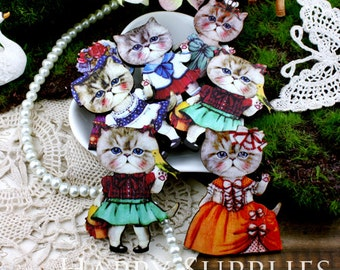 4pcs Handmade Colorful Lovely Cat Charms / Pendants (CWJ09)