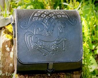 Handmade black leather Celtic pattern