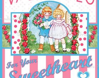 Valentine Vintage Label Digital Download Printable Image Scrapbook Tag Collage Sheet