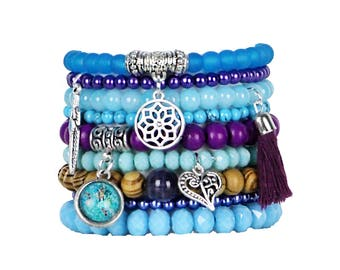 Beaded Bracelets Set of 9 Stretch Bracelets Bohemian Blue and Purple Tones Stack with Silver Tone Charms and Tassel