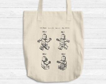 LEGO Tote Bag, Lego Patent Art Print, Cotton Tote Bag, Reusable Grocery Bag, Retro Robot Toys Travel Foldable Bag, Beige Shopping Bag USA