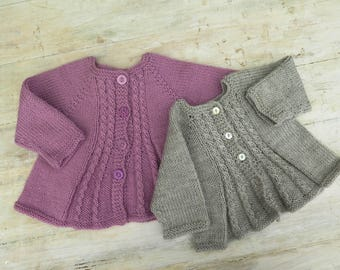 KNITTING PATTERN, Girls Cardigan Billy's Girl, Baby, Toddler, Flared Cable Panels, 6 Sizes, Top Down Pattern, Seamless Pattern, Button Front
