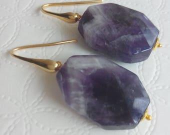 Purple Amethyst gemstone earrings, Silver earrings