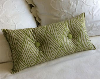 Green Ikat Toss Lumbar Accent Pillow 10x20 decorative throw with buttons