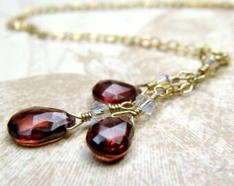 Garnet Necklace, Gold Filled, Natural Red Stone Pendant, Y Drop Triple Teardrop Gemstone, January Birthstone Jewelry, Birthday Gift Handmade