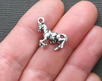 4 Horse Charms Antique  Silver Tone 3D Very Detailed - SC1032