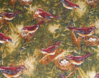 Songbird, Birds in nests, cotton fabric