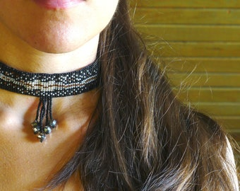 Galaxy Necklace Beaded Choker Beadwoven in Black and Silver