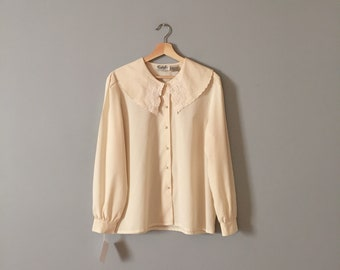 SAILOR COLLAR blouse | vanilla white poet blouse | embroidered scalloped collar blouse