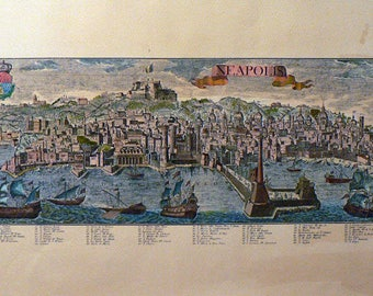 Napoli/Naples - Cm. 69 x 32 Inches 27,2 x 12,5 - Water-coloured by hand. Since 1930s