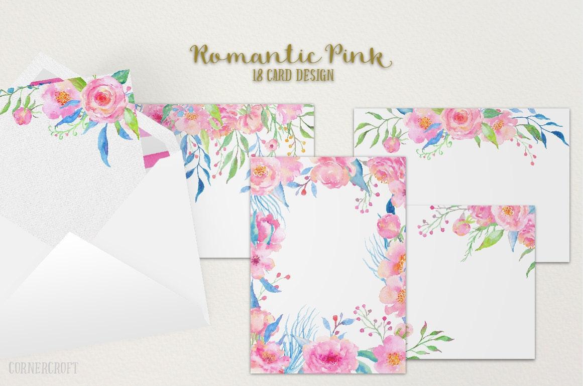 Card Template - Watercolor Romantic Pink Wedding Invitation Graphics ...