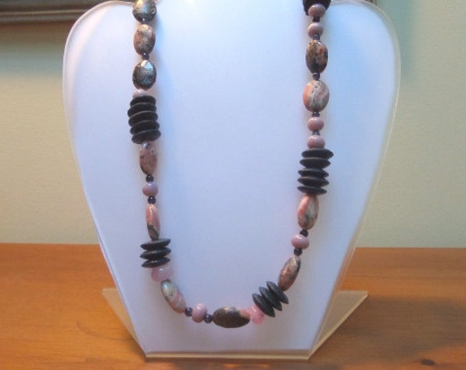 Pink and Gray Statement Necklace