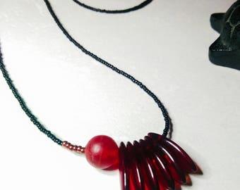 MARGOT beads necklace red and black Japanese Miyuki
