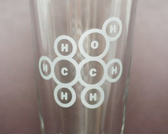 Alcohol Molecule - Etched Pint Glass, Beer Glass, Sandblasted - organic chemistry alcohol molecular structure