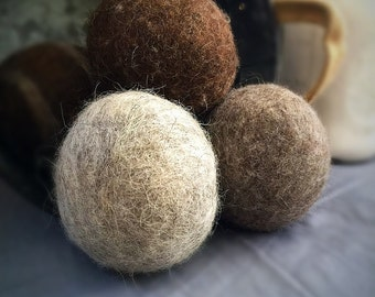 Ovella Wool Dryer Balls, The Lixo Collection. Set of (6) six. Grey, brown, cream, all nautral, no dyes, chemical free, reusable, pretty