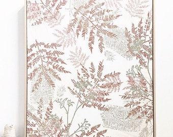 Linen screen printed framed wall art