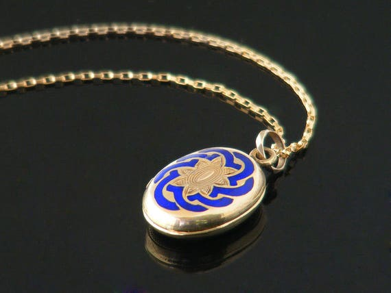 Petite Victorian Locket   Gold & Royal Blue Enamel Antique Locket   Reversible Small Oval Locket   Glass Covered Reliquary - 20 Inch Chain
